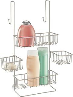 mDesign Półka pod prysznic łatwa do zawieszenia – Praktyczny koszyk łazienkowy wykonany z metalu – Uniwersalny organizer p...
