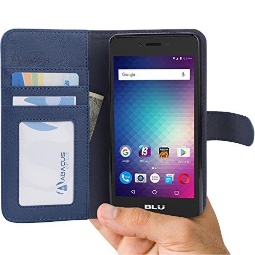 Funda BLU Studio G HD LTE de Abacus24-7®, Cartera con Tapa de Piel, Bolsillos para Tarjetas de crédito y Soporte, Compatible con BLU Studio G HD LTE, Color Azul
