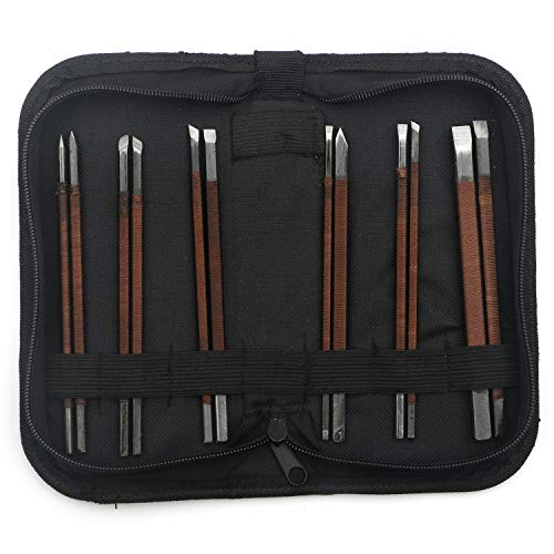 Unxuey 12Pcs Set Carving Chisel Set Jade Seal Carving Knife Manganese Steel Seal Carving Stone knife Woodworking Hand Tools Set for Engraving Enthusiast