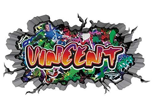 3D Wandtattoo Graffiti Wand Aufkleber Name VINCENT Wanddurchbruch sticker Boy selbstklebend Wandsticker Jungenddeko Kinderzimmer 11MD1540, Wandbild Größe F:ca. 97cmx57cm