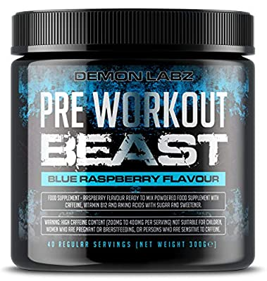 Pre Workout Beast (Blue Raspberry Flavour) - Hardcore pre-Workout Supplement with Creatine, Caffeine, Beta-Alanine and Glutamine (Regular - 306 Grams | 40 Servings)