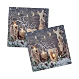 Ambesonne Christmas Sandstone Coaster Set of 2, Candle Winter Holiday Themed Arrangement with Snow and Fir Tree Leaves Print, Absorbant Square Coasters for Drinks Mug Cups, 4.25', Khaki and Grey