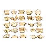 SMchwbc 10pcs del Juego de té de la Tetera/patrón de la Taza de té de Madera Rebanadas de Bricolaje Manualidades for Ornamentos de Madera Inicio Artículos de decoración