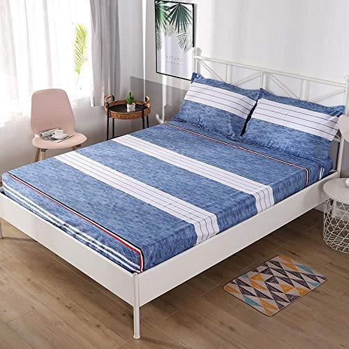 Baumwolle Leintuch 180X200 cm, Betttuch Geeignet Mit Blaue Und Weiße Streifen Spannbettlaken Boxspringbett