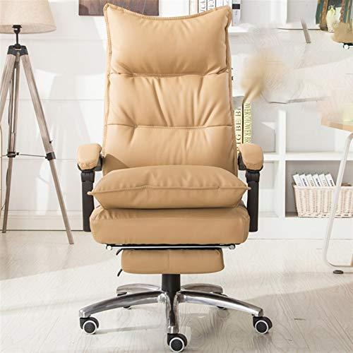 JMXAFMY Perilla de cuero silla reclinable de oficina de masaje silla de ordenador hogar silla giratoria silla de juego (color crema)
