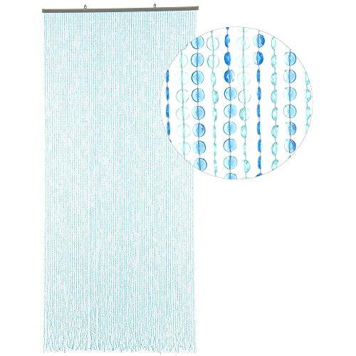 HAB & GUT Türvorhang Mini-DIAMANTEN, HELLBLAU/BLAU, 90x200 sehr dicht, Insektenschutz Perlen Pailettenvorhangg