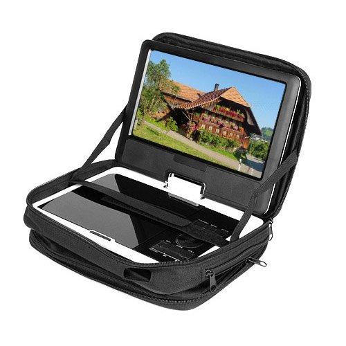 """Schwarze 9,5"""" (24,1cm)-Tasche für tragbare DVD-Player, Tragetasche mit Halteriemen für Auto-Kopfstützen."""