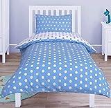 Nimsay Home Juego de funda de edredón para cuna de bebé, 100% algodón, 90 x 120 cm, diseño de lunares, color azul