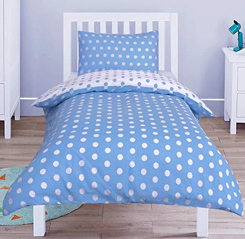 Nimsay Home Juego de funda de edredón y funda de almohada para cuna, 100 x 135 cm, diseño de lunares, color azul