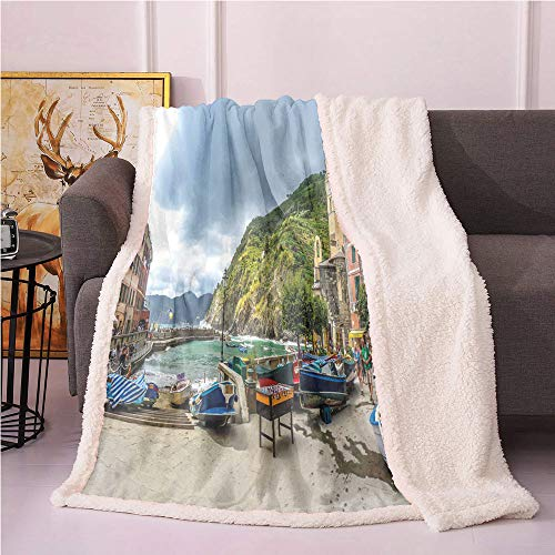 SeptSonne Vernazza Plush Blanket,Panoramic View of Italian Village Houses Boat and Historic Buildings Light Thermal Blanket,Sofa,Soft Cozy Fur Blanket(50in x 60in,Multicolor)
