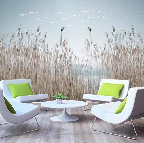 3D vliesbehang fotovliesbehang premium fotobehang behang behang 3D fotobehang Nordic eenvoudige bloemen en planten riet frisse nacht achtergrond behang bloemen. 350*245 350 x 245 cm.