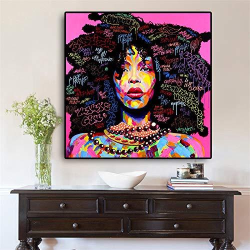 Geiqianjiumai Abstraktes Aquarell Afroamerikanerfrauen-Ölgemäldeplakat und Druckwohnzimmerwandgemälde auf Segeltuch