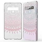 NALIA Hülle kompatibel mit Samsung Galaxy S10, Motiv Handyhülle Slim Silikon Hülle Cover Schutzhülle Dünn Durchsichtig, Etui Handy-Tasche Backcover Transparent Bumper Skin, Designs:Mandala Pink