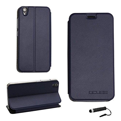 Ycloud Tasche für UMIDIGI Diamond/UMIDIGI Diamond X Hülle, PU Ledertasche Metal Smartphone Flip Cover Hülle Handyhülle mit Stand Function Marineblau