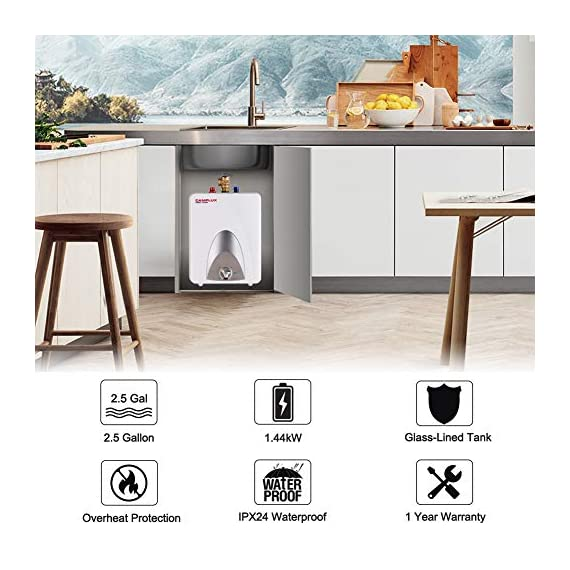 Camplux ME25 Mini Tank Electric Water Heater 2.5-Gallon with Cord Plug,1.5kW at 120 Volts 9 4-gallon point-of-use mini-tank fits under your sink to provide hot water right where you need it Electric water heater is easy to maintain and has glass-lined tank for long service life Thermostat Control allows adjustment of water temperature.High Limit device provide protection while overheating.
