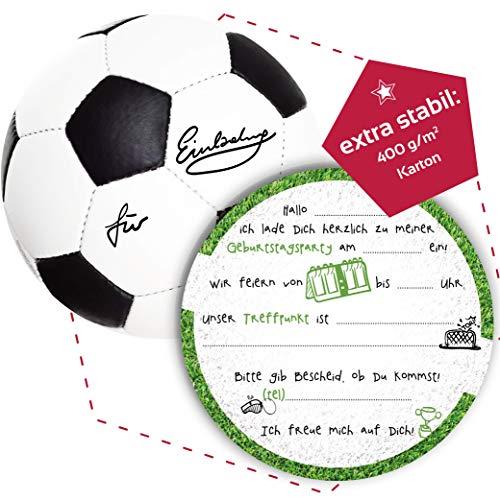 12 Einladungskarten Kindergeburtstag Fußball, (extra stabil - 400g/m²)Die Kinder Geburtstagseinladung für alle Fußballbegeisterten Jungen und Mädchen (12 Einladungskarten ohne Kuvert)
