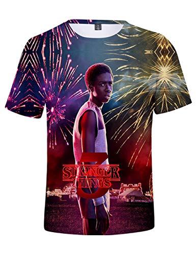 Camiseta Stranger Things Niño, Camiseta Stranger Things Mujer Unisex Impresión 3D Manga Corta T Shirt Hombre Abecedario Impresión T-Shirt Niña Camisa de Verano Regalo Camisetas y Tops (G,XXS)