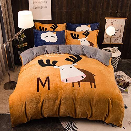 zdoujinsyuh Graues, übergroßes warmes Bettwäscheset aus Flanell, Daunendecken und Kissenbezüge aus dickem Korallenvlies, geeignet für EIN doppeltes Kingsize-Bett, B 200 * 230 cm