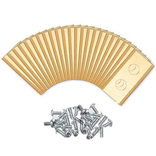 JOYXEON 30 pièces Lames de rechange en titane pour le robot tondeuse de jardin Worx Landroid®, robuste (0.9 mm), Faucheuses à Gazon accessoires avec vis (d'or)