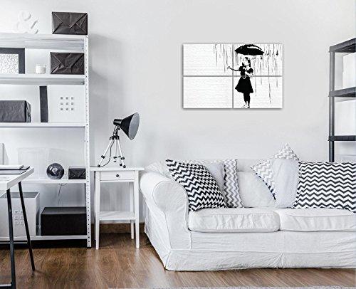 DekoShop Bilder Mädchen mit Regenschirm im Regen Banksy Leinwandbilder Wandbild Kunstdrucke AMDPS20197S10 S10 (120cm. x 80cm. (4x60x40)) Wand Ziegel Weiss Madchen Regnet Schwarz Banksy 4 Teile