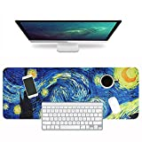 LIZIMANDU Gaming Mouse Pad,Extended Large Pattern Anti Slip Stitched Edges Long XXL Mousepad,Desk Pad Keyboard Mat, Non-Slip Base, Water-Resistant, for Work & Gaming, Office & Home(Starry Sky)
