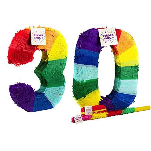 Trendario Pinata Zahl 30 Set - Mehrfarbig - ungefüllt - Ideal zum Befüllen mit Süßigkeiten und Geschenken - Piñata für Geburtstag Spiel, Geschenkidee, Party, Feier, Überraschung Stab Maske