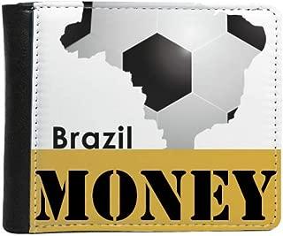 Soccer Brazil Map Shape Brazil Slogan Money Wallet Purse Flip Bifold Faux Leather Multi-Function