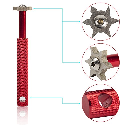 HIFROM Groove Sharpener with 6 Heads - Golf Club Groove Sharpener Re-Grooving Tool and Cleaner for All Irons Pitching Sand Lob Gap and Approach Wedges and Utility Clubs Red Color