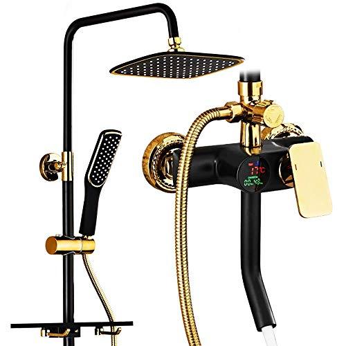 Nologo YO-TOKU Badewanne Duschsysteme Smart und Burn-Brausegarnitur mit Temperaturanzeige und Zeitanzeige for Wasserabgabe, DREI-Tasten-Steuerung und Badezimmerhahn Badezimmerarmaturen