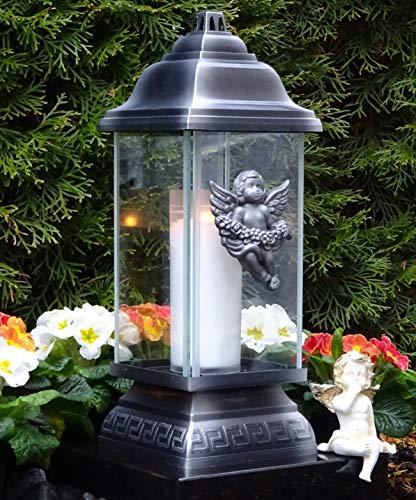 ♥ LED Grablaterne Grablampe Ornament Engel Silber 34,0 cm mit LED-Grabkerze Grabschmuck Grableuchte Grablicht Laterne Kerze Lampe Schutzengel