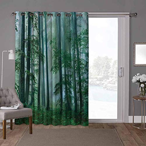 YUAZHOQI Panel de cortina de puerta corredera de bajo consumo de energía, parques nacionales, bosque mágico niebla, 100 x 108 pulgadas de ancho persianas verticales para puerta de honda (1 panel)