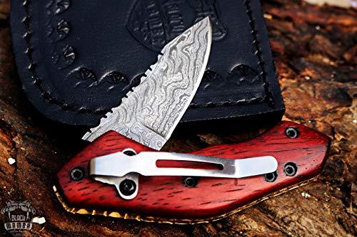 BLACK MAMBA KNIVES BMK-419 Black Swamp Pocket Knife 6.5 in Long 3 in Blade 6 Ounce Damascus Pocket...