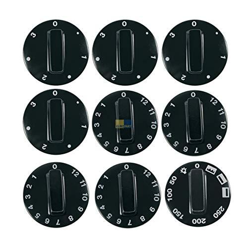 LUTH Premium Profi Parts Knebelset 9-teilig schwarz Alternative Universal für Herd