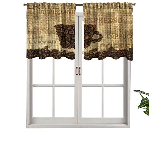 Hiiiman Cortina opaca con bolsillo para barra de cortina con forma de granos de café, juego de 2, 137 x 91 cm para sala de estar, cortina recta corta