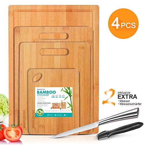 Masthome tabla de cortar de bambú con ranura para jugo y mango, ideal para carne, verduras, frutas - 1 afilador de cuchillos y 1 cuchillo como un regalo [4 piezas]