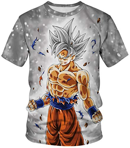 HUASON Maglietta Dragon Ball Series Unisex Stampa Creativa Semplice Summer Manica Corta Goku 90% Poliestere 10% Spandex(M)