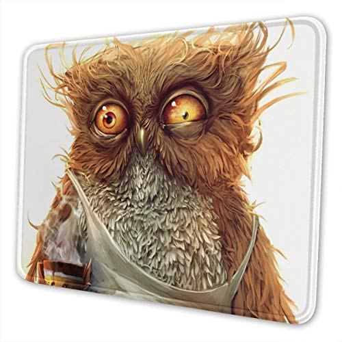 Strive Owl Mouse Pad with Stitched Edge, White Design Positive Cartoon Work Hard Owl Mousepad Non-Slip Rubber Large Gaming Mouse Pad for Laptop, Computer & Office, 11.8 X 9.8 X 0.12Inches