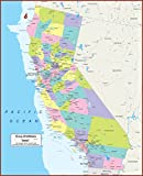 42 X 52 Large California State Wall Map Poster with Counties - Classroom Style Map with Durable Lamination - Safe for Use with Wet/Dry Erase Marker - Brass Eyelets for Enhanced Durability