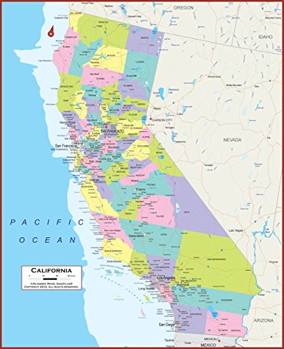 34 X 42 California State Wall Map Poster with Counties - Classroom Style Map with Durable Lamination - Safe for Use with Wet/Dry Erase Marker - Brass Eyelets for Enhanced Durability