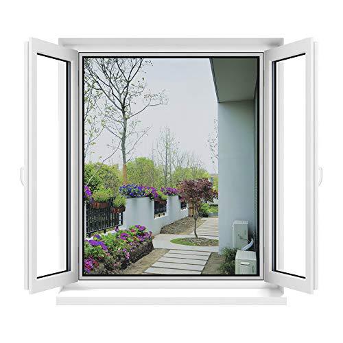 Apalus Fliegengitter Fenster, Zuschneidbar auf alle Fenstergrößen bis 130x150cm, Insektenschutz mit Stark Haftendem Klettband, Kinderleichte Montage, Presshilfe und Zuschneider Inklusive, Schwarz