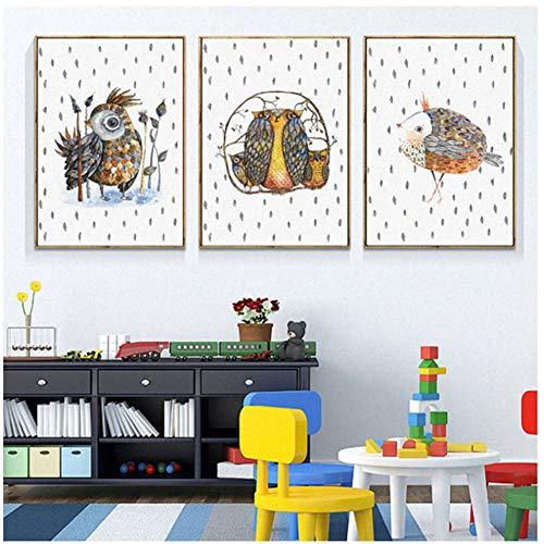 sjkkad Cartoon vogelveer schilderij minimalistische mode kamers wandschilderijen Scandinavische stijl canvas kunstdruk uil poster wooncultuur 50 x 70 cm geen lijst