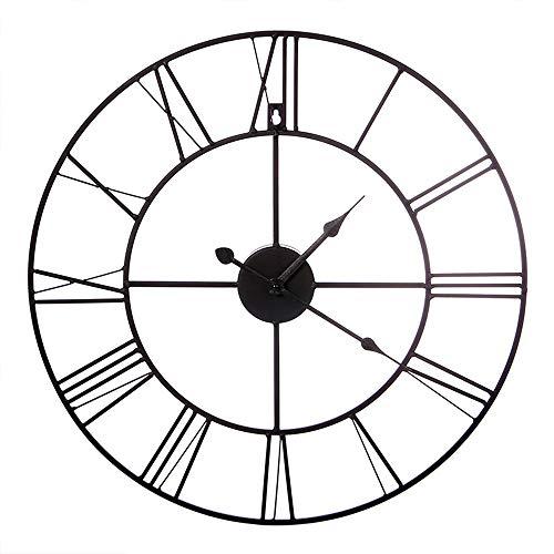 YL Uhr europäischen Schmiedeeisen Wanduhr Wohnzimmer Schlafzimmer Hause Wanduhr Metall Zifferblatt Metall Spiegel elektrische Welle Bewegung 1 AA Batterie (Nicht im Lieferumfang enthalten) Precision