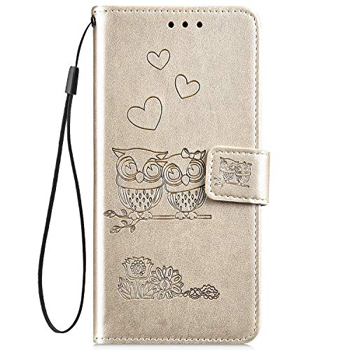 Hpory Kompatibel mit LG G3 Hülle, LG G3 Handyhülle Retro Muster PU Leder mit Handschlaufe Strap Standfunktion Geldbörse Wallet Case Flip Cover Etui Schutzhülle Tasche + 1 x Hpory Stylus - Eulen Gold