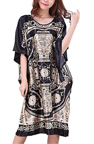Ruiying Chemise de Nuit Femme Soie en Vrac Grande Taille - Longue Robe Couverture Satin Pyjama Femme Manches Courtes