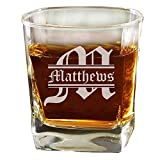 Custom Personalized Square Rocks Glass Tumbler - Wedding Party Groomsmen Father's Day - Engraved Monogrammed Drinkware Glassware Barware Etched