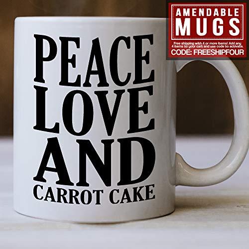 Taza divertida para tarta de zanahoria, regalo de paz, amor y zanahoria, ideal para amantes de la tarta de zanahoria, idea de regalo para tarta de zanahoria