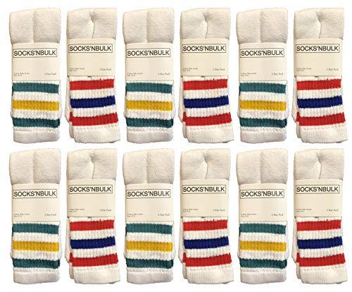 Yacht & Smith Mens & Womens Wholesale Bulk Cotton Tube Socks, Referee Style, by SOCKS'NBULK (12 Pairs Assorted, Womens 9-11 (Shoe size 5-10))