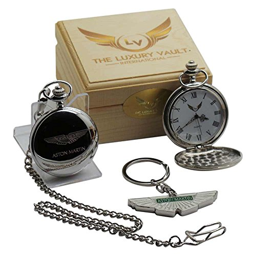 Luxe kluis ASTON MARTIN zilveren Pocket Horloge en sleutelhanger Gift Set in Case Wings Real Plated Logo DB9 James Bond
