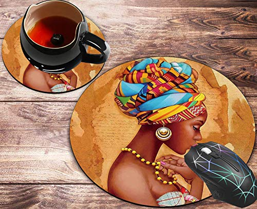 Round Mouse Pad and Coasters Set, African American Art Women Painting Mousepad, Anti Slip Rubber Round Mousepads Desktop Notebook Mouse Mat for Working and Gaming