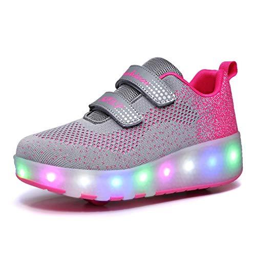 Charmstep Unisex Kinderschuhe mit Rollen LED Leuchtend 2 Rädern Turnschuhe Skateboard Rollen Schuhe Blink Gymnastik Sneaker für Junge Mädchen,Rosa,35EU
